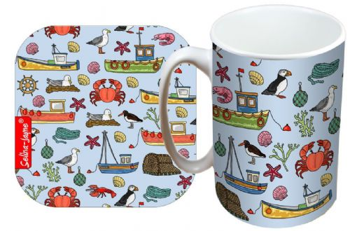 Selina-Jayne Coastal Limited Edition Designer Mug and Coaster Gift Set